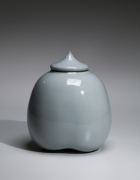 Kawase Shinobu (b. 1950), Small lobed celadon jar with pointed cover