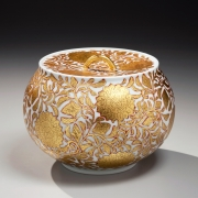 OnoH_9156-1-web, Ono Hakuko, Squat globular lidded water jar, ca. 1985, Glazed porcelain, Japanese contemporary ceramics