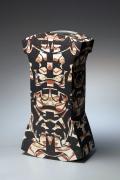 Wada Morihiro, Japanese ceramic vessel, Japanese sculpture, Japanese ceramic sculpture, Japanese glazed stoneware, 1993. Keisenmonki series.