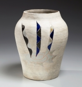 White-glazed vessel with wide mouth and tapering lower body with vertical triple ribbon patterns in overglaze blue, white and black enamel of white, blue and green on front and verso, 1976