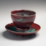 Kingfisher celadon teacup on stand, 2016