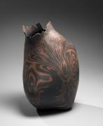 Takiguchi Kazuo (b. 1953), Black and orange, neriage(marbleized), irregularly shaped sculpture