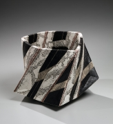 Sawada Hayato (b. 1978), Multi-planar vessel with abstract patterns in red, creams and black