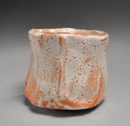 Suzuki Osamu (Kura) (b. 1934), Mino ware, Shino type faceted, thickly walled teabowl
