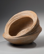 Rounded wide-mouthed double-walled swirling vessel with slanted side and incised linear patterning, 2013