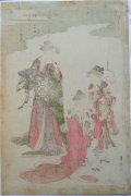 "Utagawa Toyokuni I (1769-1825), Two courtesans with an attendant in a parody of the poets Bunya no Yasuhine and Sōjō Henjō from ""Fashionable Six Immortals;""FÅ«ryÅ« Rokkasen"