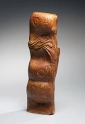 Kumakura, Junkichi, Kumakura Junkichi, sodeisha, avant-garde, ceramics, Japanese, Japanese ceramics, modern, clay, pottery, tall, undulating, amber, irabo, glazed, sculpture, abstract, incised, design, 1966