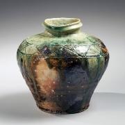 Kishimoto, Kennin, Kishimoto Kennin, uzukumaru, crouching, traditional, broad-shouldered, iga, vase, incised, patterning, 2012, contemporary, ceramics, Japanese, glazed, stoneware