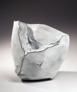 Kaneta Masanao (b. 1953), Large white hagi-glazed scooped-out mountain-shaped vessel
