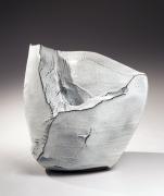 Kaneta Masanao (b. 1953), Large whitehagi-glazed scooped-out mountain-shaped vessel