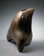 Three footed sculpture with pointed top, triangular mouth, 1989