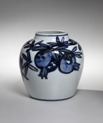 Kondō Yūzō (1902-1985), Blue-and-white vase with pomegranate design