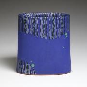 MORINO HIROAKI TAIMEI(b. 1934), WORK 16-7; Blue flattened vase