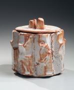 SUZUKI OSAMU (KURA) (b. 1934), Mino ware, Shino type geometrically-carved eight-lobed waterjar (mizusashi)and matching lid