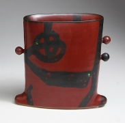 WORK 16-13; Persimmon iron-glazed, rounded square vase with winged base and three spherical ears, decorated in circular and slashed patterning in black on red, 2015