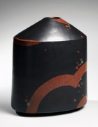 Morino Hiroaki Taimei (b. 1934), Black rounded vase with conical top, red design at base, and red- and green-overglaze dots