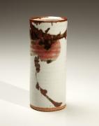Persimmon-decorated columnar vase, 1980