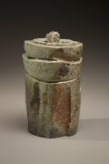 Fujioka Shuhei (b. 1947), Lidded, columnar water storage jar with carved surface