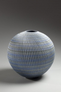 Ogata Kamio, Round, blue, green, gray, and white neriage vessel, 2015. Marbleized stoneware. Japanese modern, contemporary, ceramics, sculpture