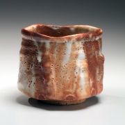 Katō Yasukage (1964-2012), Mino ware, Shino type, straight-walled teabowl with irregular mouth