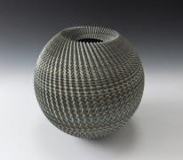 Ogata Kamio, Globular, neriage vessel, 2014. Marbleized stoneware, Japanese modern, contemporary, ceramics, sculpture