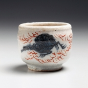 Kawamoto, Goro, Kawamoto Goro, sake, cup, sake cup, iroe, color, design, mythical, bird, black, blue, red, painted, hand-painted, modern, ceramics, Japanese, Japan, modern Japanese ceramics, for sale, pottery, clay, glazed, stoneware, 1960s, 1960, new york city, nyc