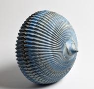 "Marbleized, carved, ridged-surface ceramic sculpture ""Lunar Laqnding"", 2017"
