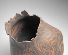 Takiguchi Kazuo (b. 1953), Black and orange,neriage(marbleized), irregularly shaped sculpture