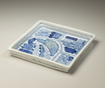 Nagaoka Ami (1946-2013), Square plate with geometric designs