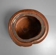 Suzuki Osamu (Kura) (b. 1934), Mino ware, Gray Shino (nezumi-shino) irregularly-lobed waterjar with ceramic and lacquer lids