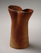 Mori Togaku, Bizen vertical vessel, ca. 1990, Japanese contemporary ceramics, modern, sculpture