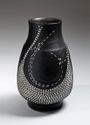 Kondo, Yutaka, Kondo Yutaka, Japanese, ceramics, Japanese ceramics, clay, pottery, columnar, shouldered, black, glaze, vase, stamped, roulette, patterning, white, slip, inlay, design, 1981