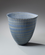 Ogata Kamio, standing conical, neriage vessel, 2015. Marbleized stoneware, Japanese modern, contemporary, ceramics, sculpture