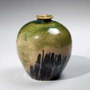 Kitaoji, Rosanjin, Kitaoji Rosanjin, modern, antique, Japanese, ceramics, clay, pottery, round, vase, mouth, dripping, green, black, oribe, glaze, stoneware, stripe, iron oxide, 1950