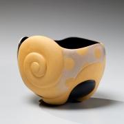 Takemura,Yuri, Takemura Yuri, circus, carved, teabowl, black, silver, yellow, swirl, polka, dot, design, matte, glazed, stoneware, contemporary, art, japan, japanese, ceramics, pottery, clay, 2015, contemporary japanese ceramics, gallery, mirviss