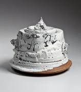 MiwaK_9599-1, Hagi-glazed water jar, 2015, Japanese contemporary ceramics, modern, sculpture