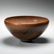 Shimizu Uichi, Japanese glazed stoneware, Japanese brown-glazed bowl, ca. 1963