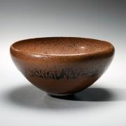 Shimizu Uichi, Japanese glazed stoneware, Japanese brown-glazed bowl, ca. 1963