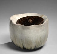 Nishihata Tadashi (b. 1948), Waterjar with foliated rim, recessed mouth and matching cover with knob handle, all covered with Tamba-style ash glaze
