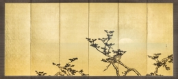 HASHIMOTO GAHO (1835-1908), Nichi getsu shochiku zu byobu:Pine with a setting sun and bamboo with rising full moon