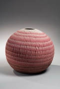 Globular marbleized (neriage) large tsubo (vessel) with rough layers of dark pink, light pink to white colored clays, 1981
