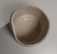 Nishihata Tadashi (b. 1948), Straight-sided teabowl, covered with white Tamba-stylekairagi(crawling) glaze and abstract linear pattern in iron glaze