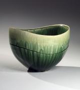 SUZUKI TETSU (b. 1964), Gradated green-glazed almond-shaped conical vessel