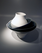 Fukumoto Fuku (b. 1973), Tiered sculpture of one rounded vessel, two shallow, and one large conical stacked bowls
