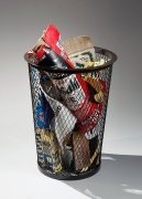 Mishima, Kimiyo, Mishima Kimiyo, sculpture, charcoal, box, newspaper, soda, can, contemporary, clay, ceramic, glazed, stoneware, pottery, art, pop art, japan, japanese, contemporary art, japanese ceramics, 2012, trash, garbage, cardboard, steel