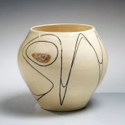 Fujimoto Yoshimichi (Nodo), Sodeisha-style vessel, glazed stoneware ca. 1965 , Living National Treasure, Japanese vessel, Japanese clay, Japanese ceramics, Japanese pottery, Japanese contemporary ceramics,
