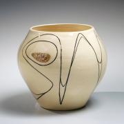 Fujimoto Yoshimichi (Nodo), Sodeisha-style vessel, glazed stoneware ca. 1965 , Living National Treasure, Japanese vessel, Japanese clay, Japanese ceramics, Japanese pottery, Japanese contemporary ceramics,