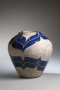 Kamoda, Shoji, Kamoda Shoji, vessel, vase, blue, enamel, glazed, stoneware, ceramics, Japanese, modern, Japanese ceramics, 1976