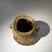 Abe Anjin (b. 1938), Imbe water jar (mizusashi) with carved banded decoration