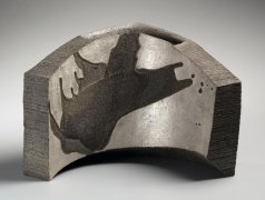 Hoshino Kayoko, standing vessel, Cut Out 13-6, 2013, stoneware with ash glaze and silver, Japanese sculpture, Japanese ceramics, Japanese pottery, Japanese vessel, Japanese contemporary ceramics